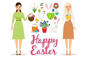Easter flat vector elements