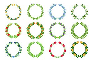 Spring green floral wreaths