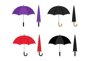 Umbrellas colorful icons set