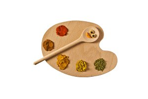 Spice palette and playful wood spoon