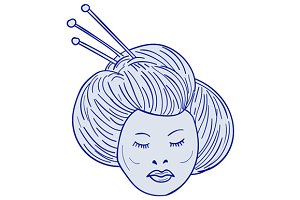 Geisha Girl Head Drawing