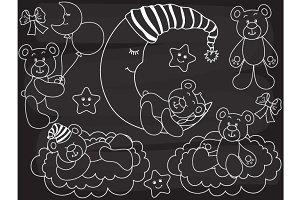 Vector Chalkboard Baby Bear