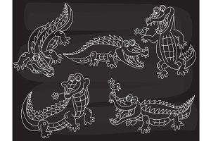 Vector Chalkboard Crocodile