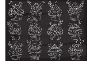 Vector Chalkboard Cupcakes