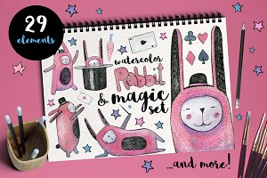 Rabbit and Magic Watercolor Set