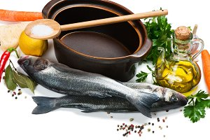 Fish, diet or cooking concept
