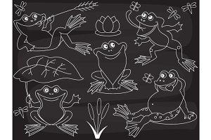 Vector Chalkboard Frogs