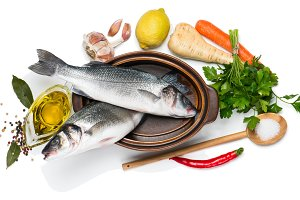 Ingredients for cooking fish dish