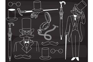 Vector Chalkboard Gentleman Set