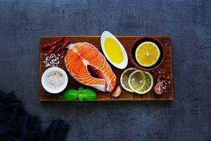 Uncooked salmon fish