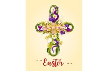 Easter cross made up of flowers greeting card design