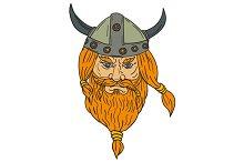 Norseman Viking Warrior Head Drawing