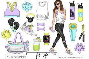 Fashion Girl Fitness Outfit Clip Art
