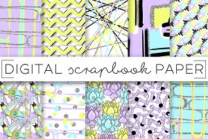Purple Green Fitness Digital Papers