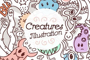 Creatures Doodle Illustration