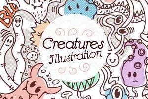 Creatures Doodle Illustration