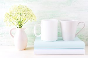White coffee and latte mugs mockup