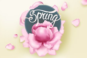Lettering spring and pink peonies