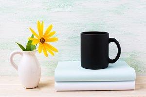 Black coffee mug mockup