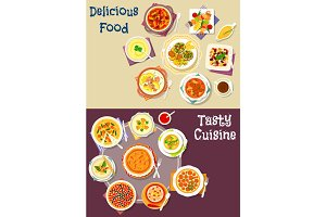 Salad, soup and pastry dishes icon set design