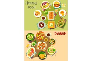 Main dinner dishes with appetizers icon set