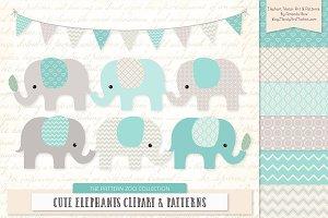 Elephants Clipart & Patterns in Aqua