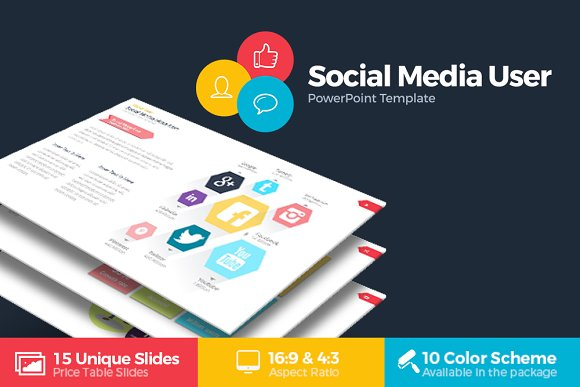 social media user powerpoint presentation templates on creative market. Black Bedroom Furniture Sets. Home Design Ideas
