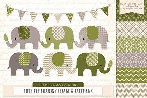 Elephants Clipart & Patterns Avocado