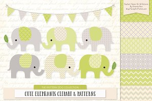 Elephants Clipart & Patterns Bamboo