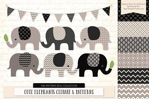 Elephants Clipart & Patterns Black