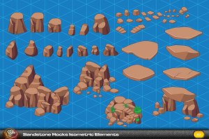 Sandstone Rock Isometric Elements