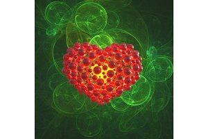 Red heart made of spheres with reflections isolated on green space background. Happy valentines day 3d illustration