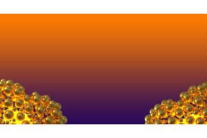 metal gold hearts made of spheres with reflections and flying over violet gradient background. Happy valentines day 3d illustration. Copyspace for your design text