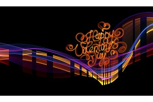 Happy valentines day lettering written by fire of smoke over black background