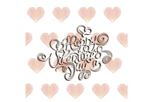 Happy Valentines day vintage lettering written by fire or smoke over bright seamless background full of flying hearts. 3d illustration