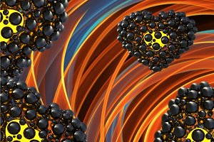 black heart made of spheres with reflections isolated on orange flame background. Happy valentines day 3d illustration