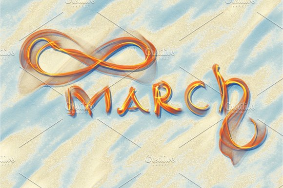 March 8 greeting card. Background for International Women's Day. Lettering made by ivory in the desert sand, creative concept