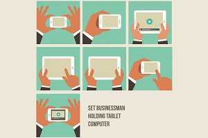 Set Businessman Holding Tablet