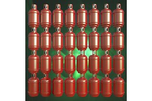 Propane gas cylinders isolated on a green background . 3d illustration