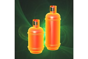 Propane gas cylinder isolated on a green background . 3d illustration