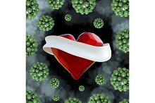 Flying red chopped heart with the white ribbon and the molecular spheres around. Copyspace for text Valentines day 3d illustration