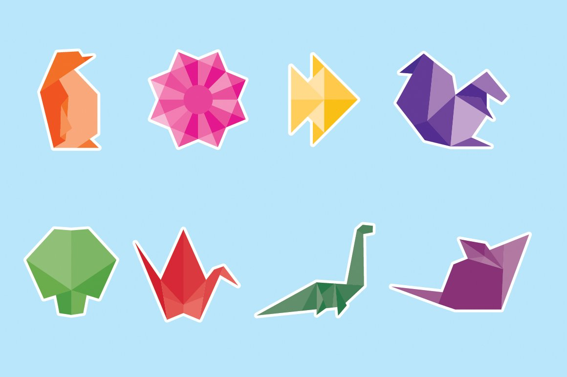 Origami Vector Icon Set Icons Creative Market