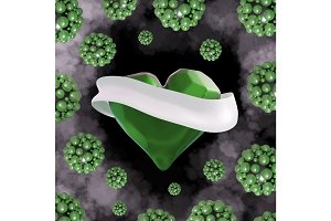 Flying green chopped heart with the white ribbon and the molecular spheres around. Copyspace for text Valentines day 3d illustration