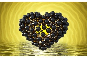 black heart made of spheres with reflections isolated on involute bright background and waterscape lake. Happy valentines day 3d illustration