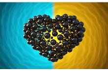 black heart made of spheres with reflections isolated on involute bright background. Happy valentines day 3d illustration