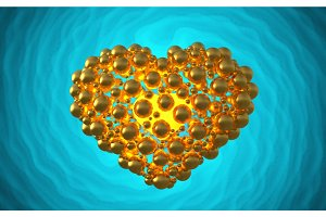 metal golden heart made of spheres with reflections isolated on involute bright background. Happy valentines day 3d illustration