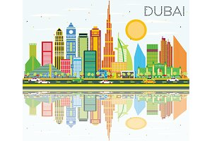 Dubai Skyline with Color Buildings