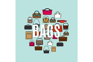 Bags cartoon icons in circle shape