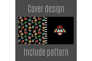 Cover design with tribal masks pattern