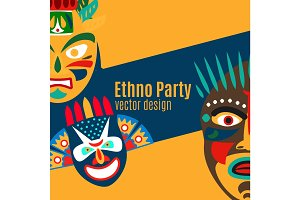 Ethno party card with cartoon masks